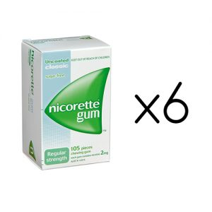 Nicorette Nicotine Gum 2mg Classic Original 6 Boxes