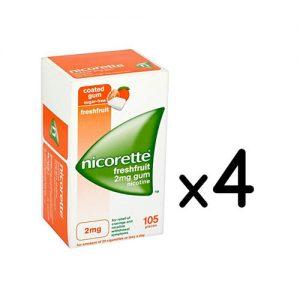 nicorette freshfruit 2mg nicotine 105ct